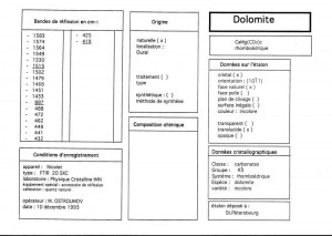 Dolomite. Table (IRS)