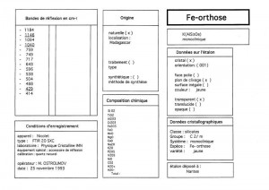 Orthose - Fe. Table (IRS)